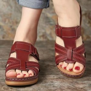 Women Summer Hollow Slippers Wedges Slides Platform Peep Toe Adjustable Casual Outdoor Female Ladies Shoes Zapatos De Mujer