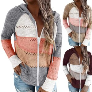 Fashion Thin Hooded Knit Sweaters Cardigan Women Autumn Patchwork Knitwear With Zipper Loose Hollow Out Tops Outwear Ropa Mujer