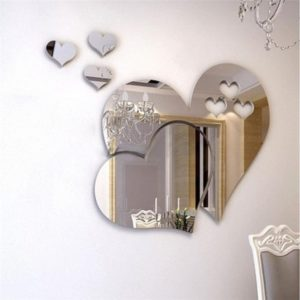 3D Mirror Love Hearts Wall Sticker Decal DIY Wall Stickers for Living Room Modern Style Home Room Art Mural Decor Removable PS