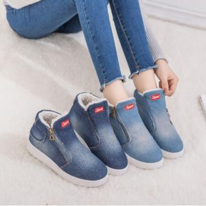 New Winter Shoes Women Denim Ankle Boots Classic Zipper Snow Boots Warm Plush Thickening Flat Boots for Zapatos De Mujer C001